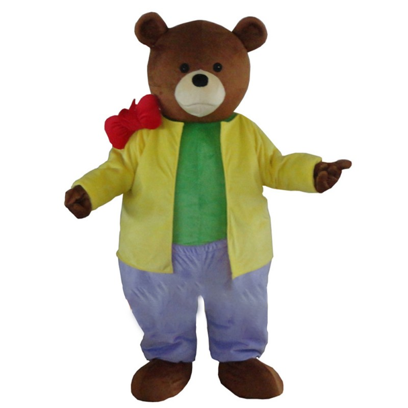 Casual Brown Bear With Colorful Suit Mascot Costume