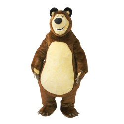 Tall Strong Brown & Khaki Bear Mascot Costume