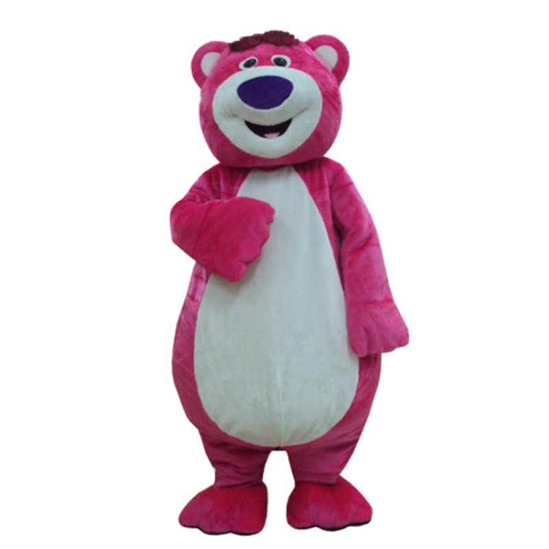 Strong Rose Red Bear With Smiling Face Mascot Costume