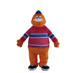 Customized Furry Orange Doll With Sports Shirt Mascot Costume