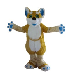 Plush Long Fur Brown & White Dog Mascot Costume