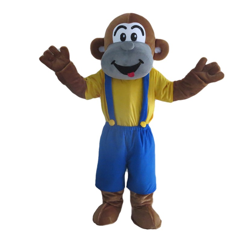 Unisex Naughty Monkey With Blue Rompers Mascot Costume