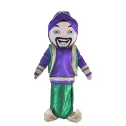 Friendly Arab Man With Purple Top Mascot Costume