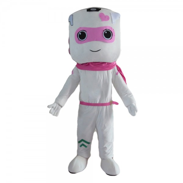 Funny Cartoon White Female Robot Mascot Costume