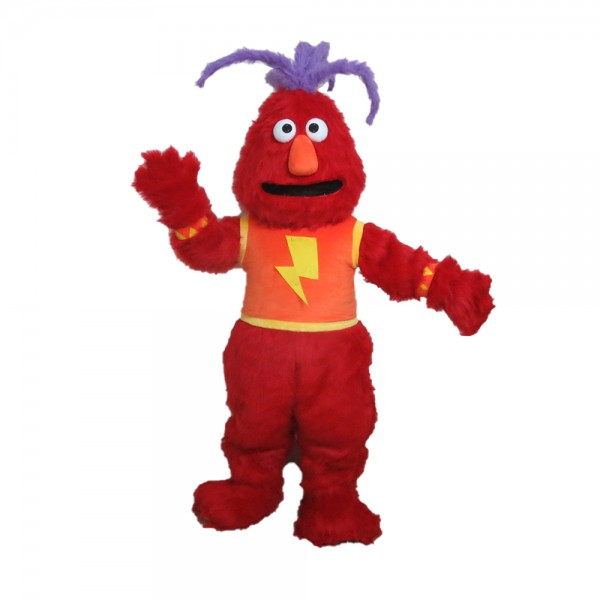 Clownish Red Monster With Purple Hair Mascot Costume