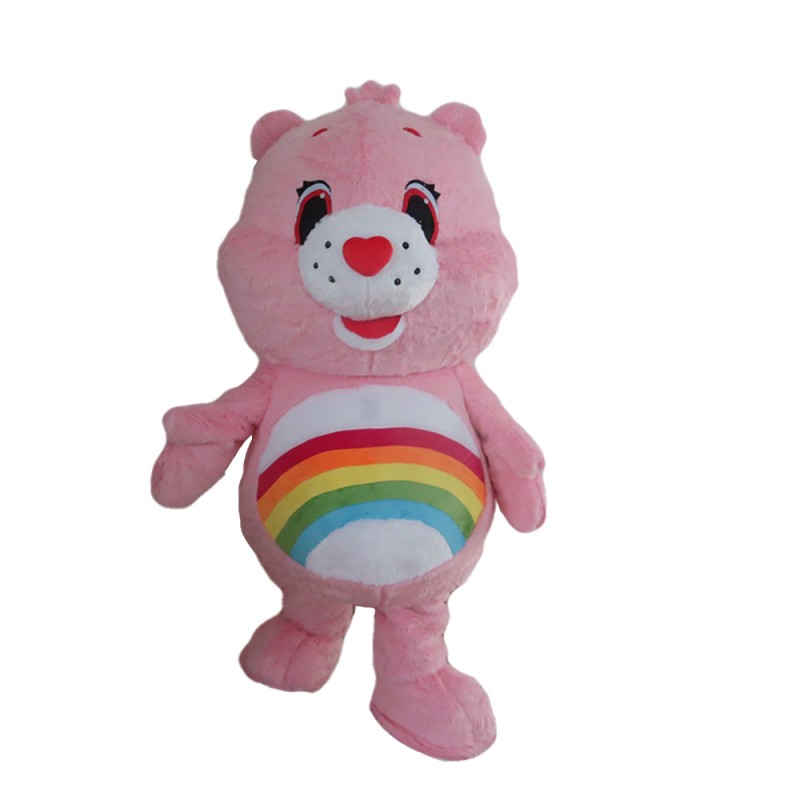 So Adorable Pink Rainbow Bear Mascot Costume