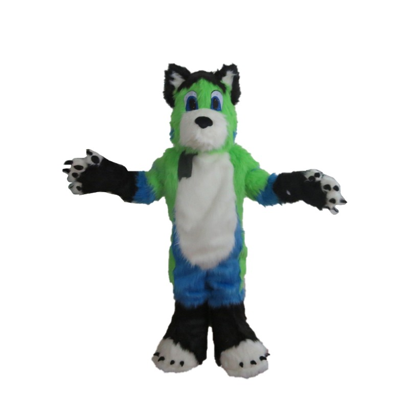 High Quality Long Fur Green & White & Blue Dog Mascot Costume