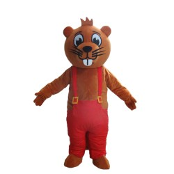 Cartoon Brown Beaver With Red Rompers Mascot Costume