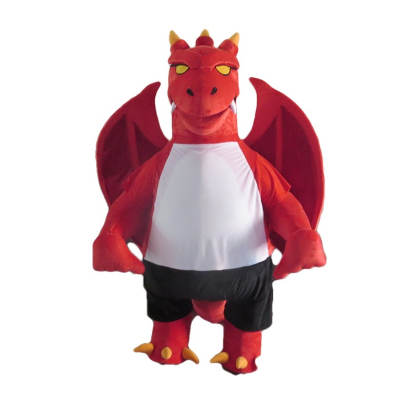 New Version Ferocious Red Dragon Mascot Costume
