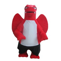 Evil Cartoon Red Dragon With Wings Mascot Costume