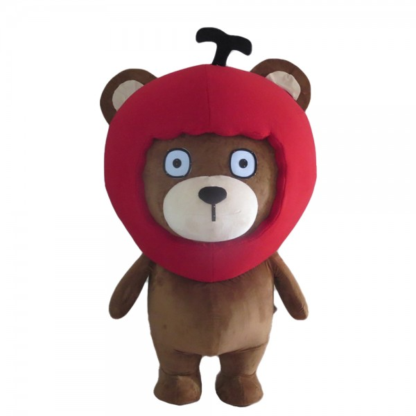 Lovely Brown Bear With Red Apple Headgear Mascot Costume
