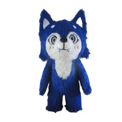 Super Adorable Cartoon Blue Fox Mascot Costume