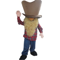 Funny Bearded Man With Plaid Shirt Mascot Costume