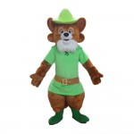 Adult Honest Raccoon With Green Shirt And Hat Mascot Costume