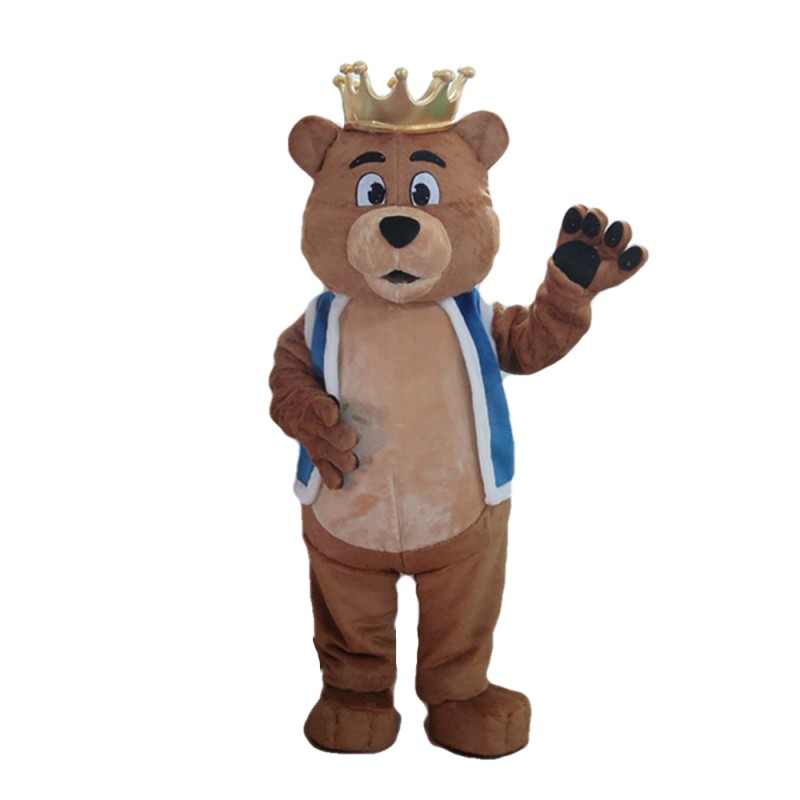 Furry Brown Crown Bear With Blue Maga Mascot Costume