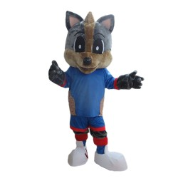 Cute Grey Fox With Blue Set Mascot Costume