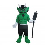 Green Muscle Hunter With Black Cloak Mascot Costume