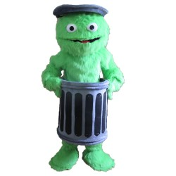 Green Sesame Street Inside The Iron Bucket Mascot Costume