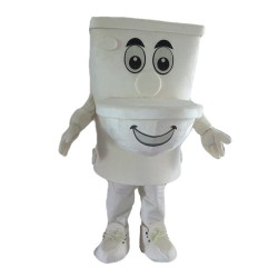 Cartoon White Toilet Mascot Costume