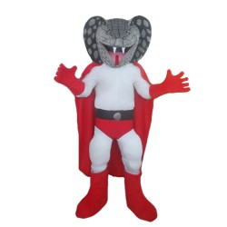 Snake Superman With Red Shorts And Cloak Mascot Costume