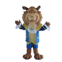 Noble Lion With Blue Coat Mascot Costume
