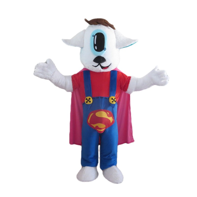 Brave Little Superman Dog With Rompers Mascot Costume
