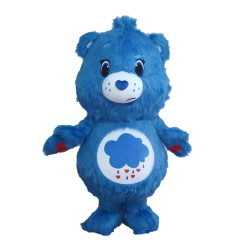 Melancholy Blue Raindrop Bear Mascot Costume