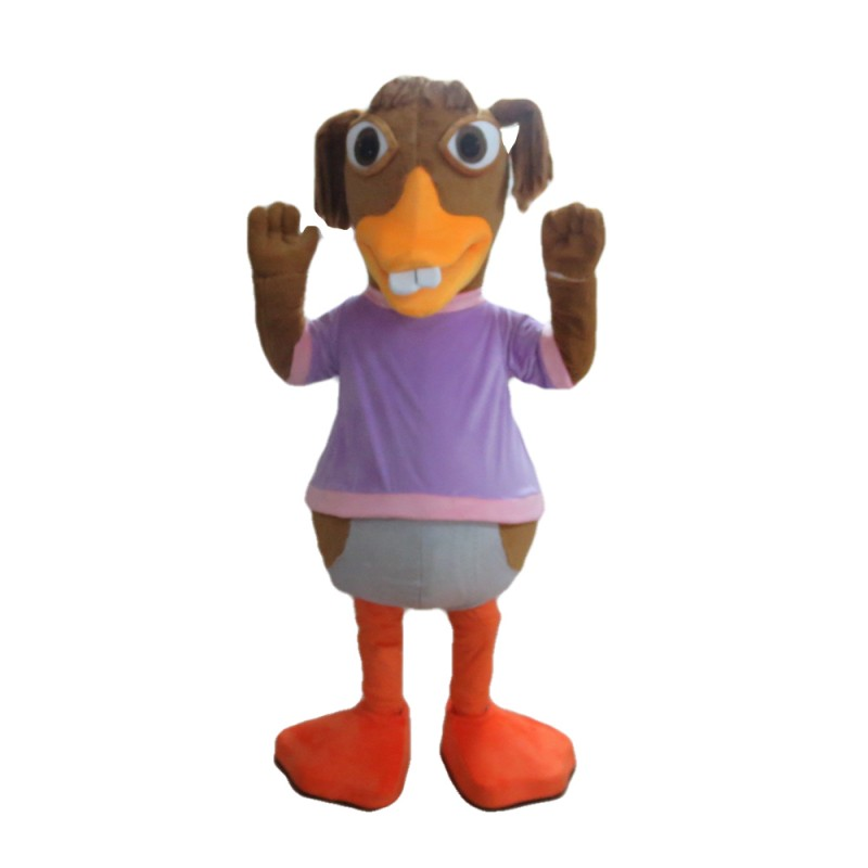 Clownish Buck Teeth Duck Mascot Costume
