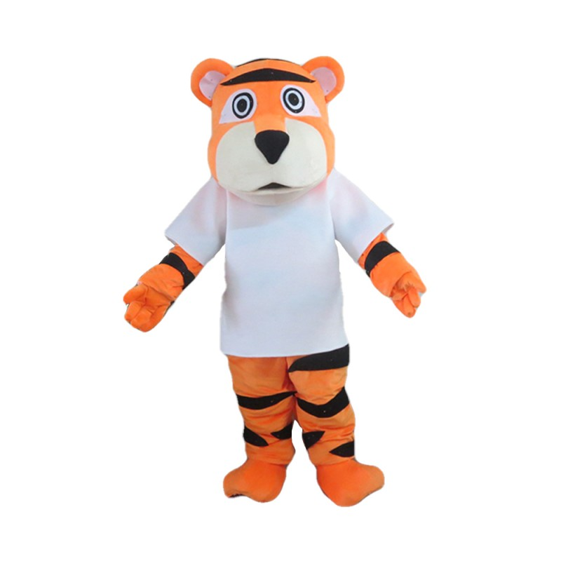 Sports Tiger With White Shirt Mascot Costume