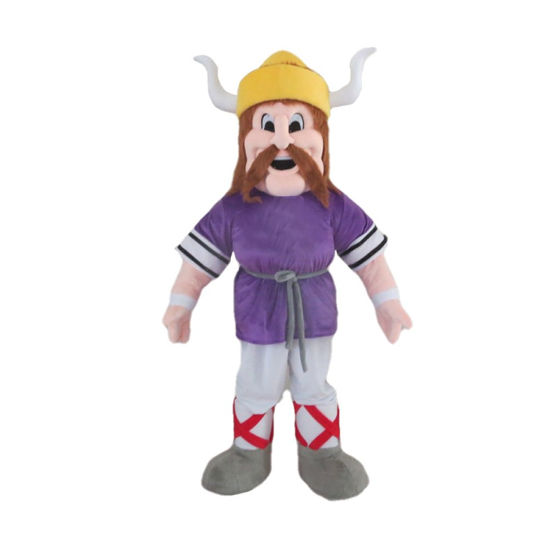 Powerful Warrior With Purple Top Mascot Costume