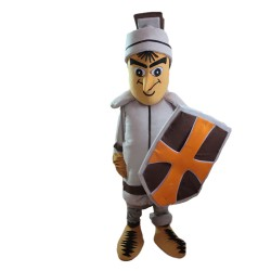 Brave Soldier With Shield Mascot Costume