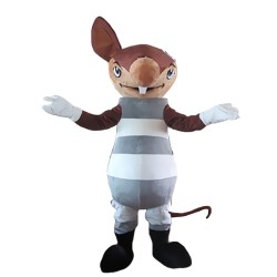 One-eared Groundhog With Grey Set Mascot Costume