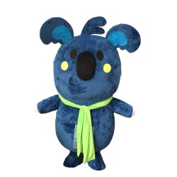 Naughty Grey Blue Koala With Green Tape Mascot Costume