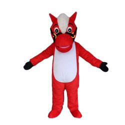 Standing Red & White Horse Mascot Costume