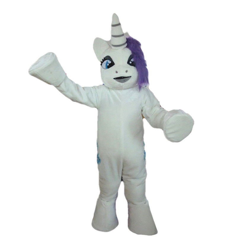 White Unicorn With Purple Hair And Tail Mascot Costume