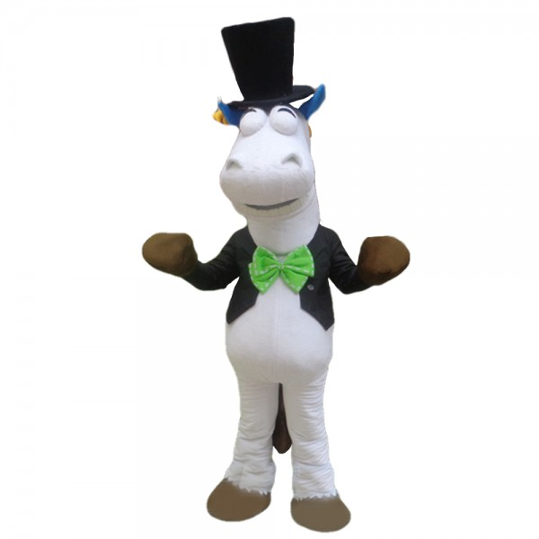 Gentleman Horse With Tuxedo And Bowler Hat Mascot Costume
