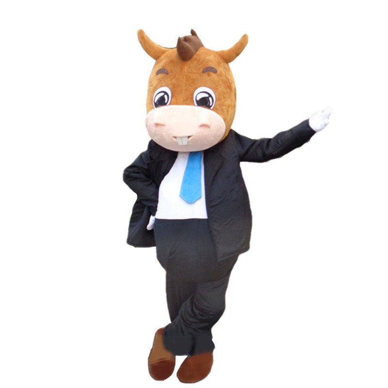 Charming Adult Horse With Suit Mascot Costume