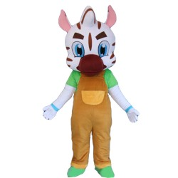 White Pattern Tiger With Brown Overalls Mascot Costume