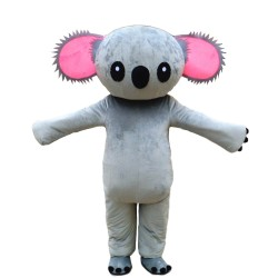 New Grey Koala With Pink Gear Shaped Ears Mascot Costume