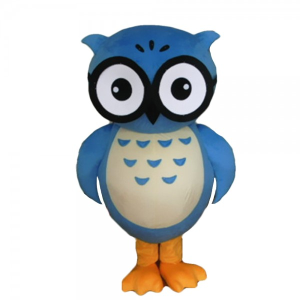 Blue Owl With Glasses Mascot Costume For Annual Celebration