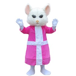 Quality Dancing White Mouse With Pink Dress Mascot Costume