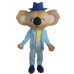Unisex Cartoon Koala With Sky Blue Suit Mascot Costume
