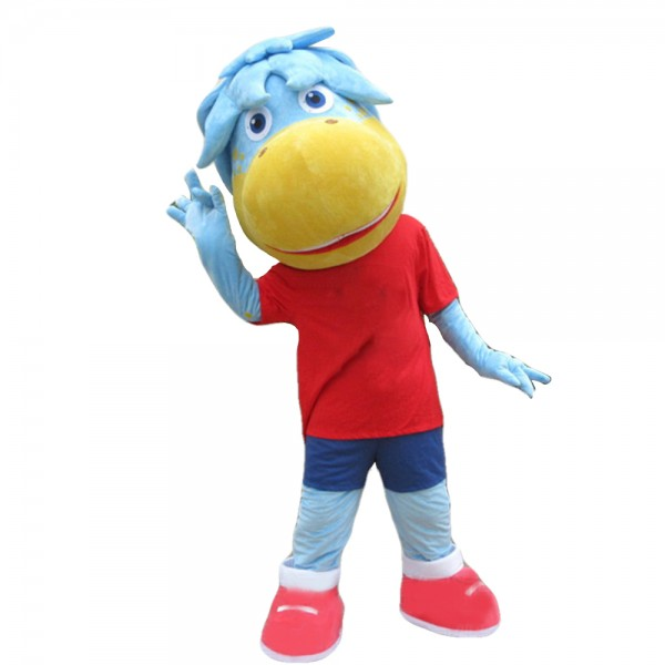 Blue Horse In Red Shirt Mascot Costume For Outdoor Activity