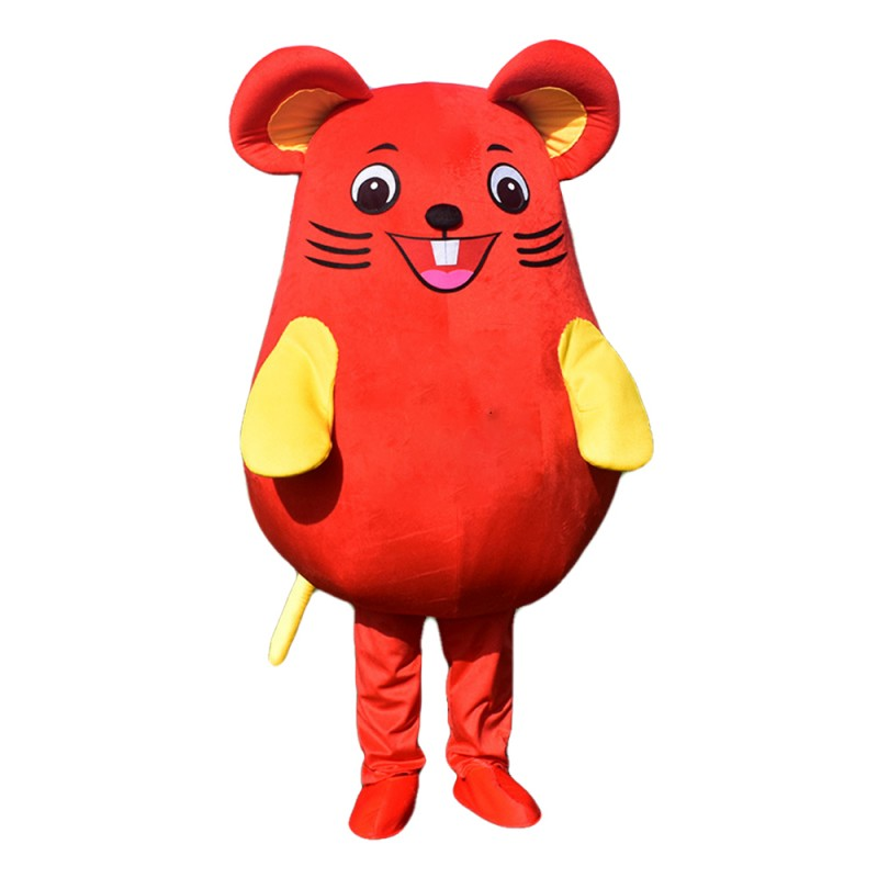 Round Body Red Marmot Mascot Costume