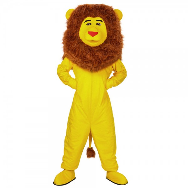 Funny Yellow Lion With Long Brown Mane Mascot Costume