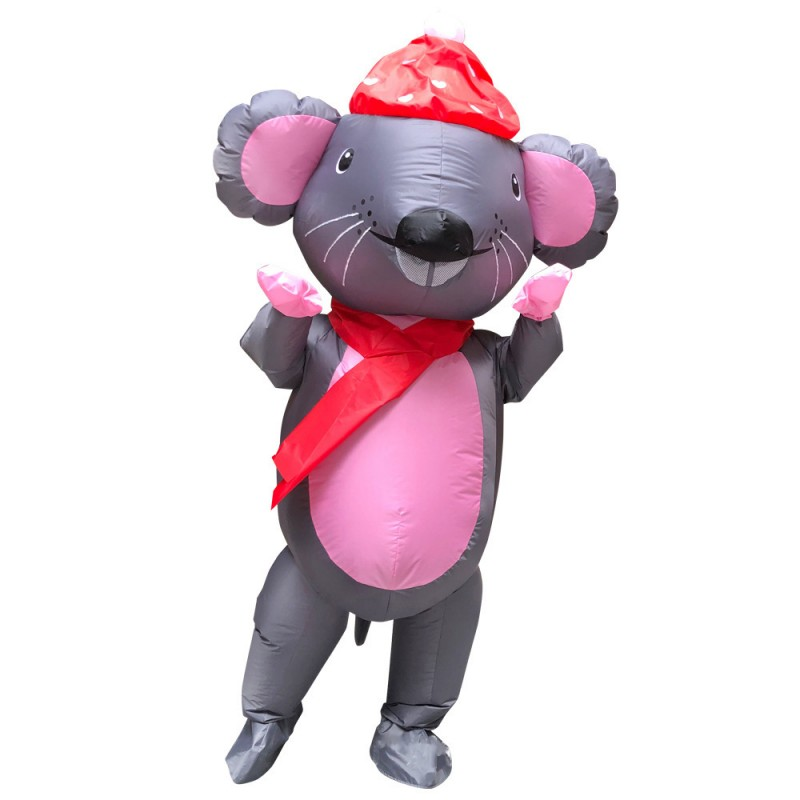 Big Inflatable Grey & Pink Mouse Mascot Costume
