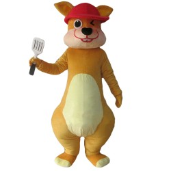 Short Plush Yellow Squirrel With Shovel Mascot Costume