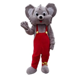 Smiling Grey Mouse With Red Pants Mascot Costume