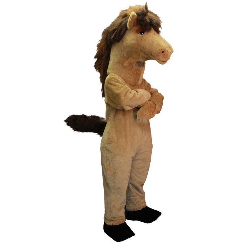 Standing Crossed Hands Brown Horse Mascot Costume