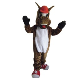 Happy Horse With Red Cap And Shoes Mascot Costume